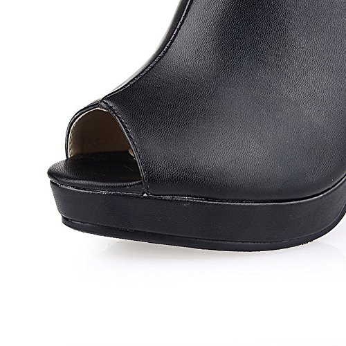 AllhqFashion Mujeres Peep Tacón ancho Hebilla Sintético Sólido Sandalia Negro