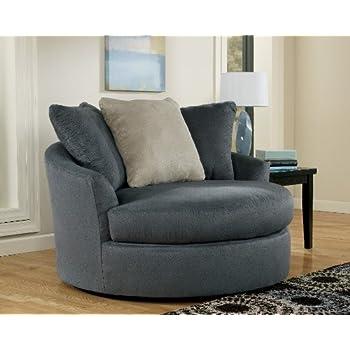 Oversized Swivel Chair In Ndigo Finish By Ashley Furniture
