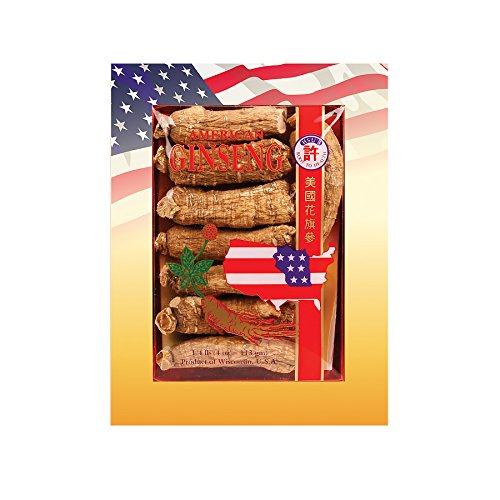 SKU #0129-4, Hsu's Ginseng Half Short Jumbo Cultivated American Ginseng Roots (4 oz = 113 gm / box), with one free single American ginseng tea bag, 129-4, 129.4