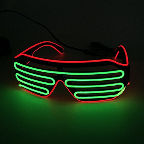 Two Color Mixed EL Wire Glasses LED Light Up Rave Party Glasses For Night Club and Ball Party(Red Frame+Lime Green) by YEAHUI EL