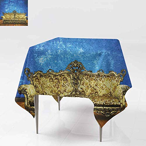 DUCKIL Stain-Resistant Tablecloth Victorian Sofa in Room Interior Wooden Floor Timber Panel Curve Aged Picnic W36 xL36 Brown Gold Royal Blue