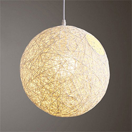 Ball Pendant Lamp (Zehui Light Lamp Shades Light Accessories(15cm Diameter) Round Concise Hand-woven Rattan Vine Ball Pendant Lampshade White)