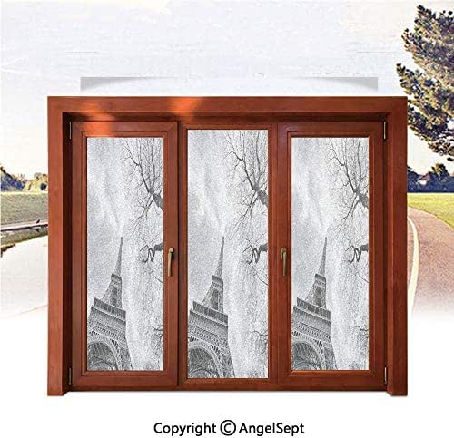 RWNFA Heat Control Decorative Stained Glass Window Films,Eiffel Tower with Winter Tree Historical Architecture European Romantic Scene 22.8