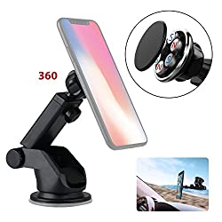 MOJIWING Easy View 360 Degree Cell Phone Mount Holder Magnetic Windshield Adjustable Arm Easy Install use for Desk Table Mirror Car Dashboard Car Navigation Stand etc.