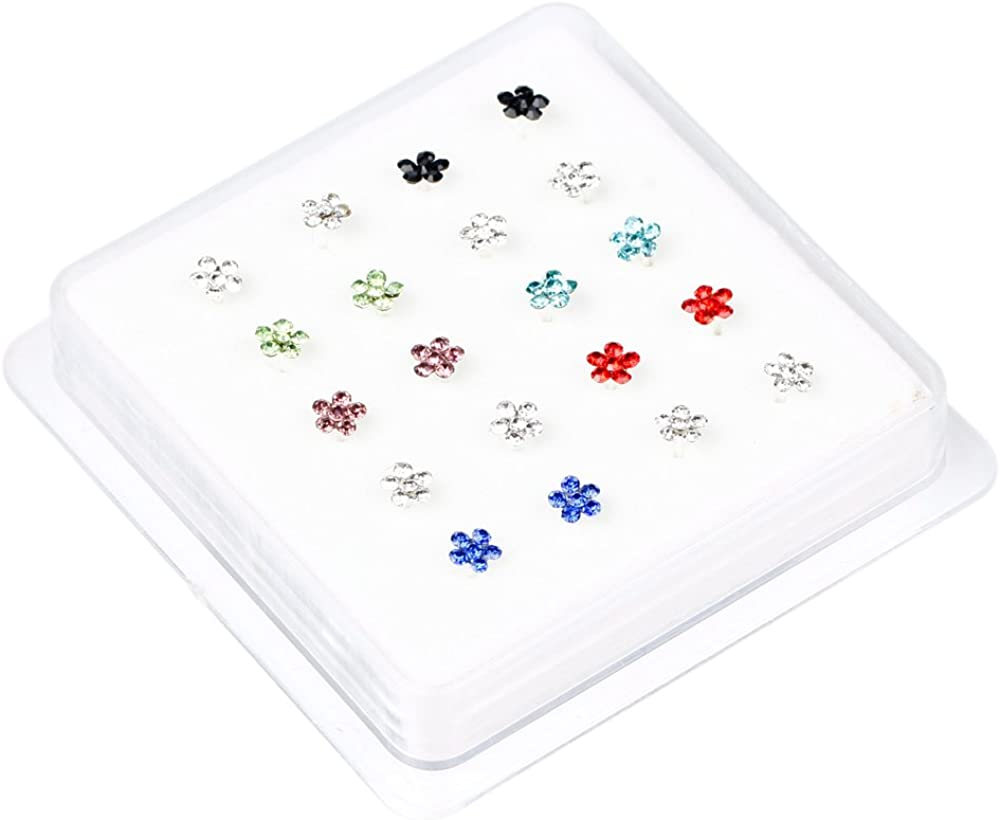 20Pcs Gem Flower Shape Rhinestone Nose Studs Rings Body Piercing Jewelry