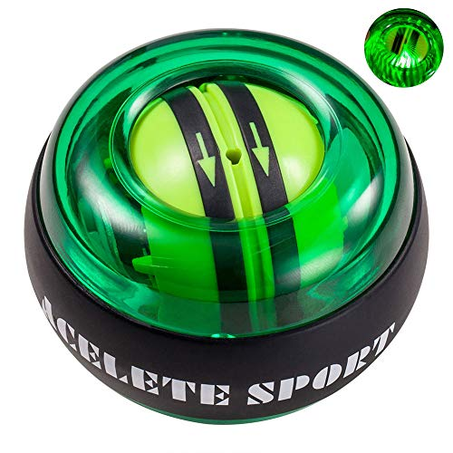 ACELETE Auto-Start 2.0 Power Ball Wrist Trainer Ball Forearm Exerciser Wrist Strengthener Workout Toy Spinner Gyro Ball with LED Lights (Transparent)
