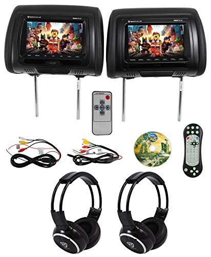 Rockville RDP711-BK 7 Car Headrest Monitors w/DVD/USB/HDMI + Games + Headphones