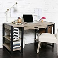 New 60 Inch Wide Driftwood Finish Computer Tech Desk with USB and Power