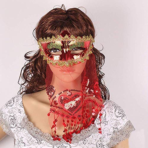 XIN hot Sequins Veil Mask Women Girls