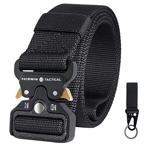 "Fairwin Tactical Belt for Men, Military Style 1.5"" Nylon Web Belt with Heavy-Duty Quick-Release Metal Buckle"