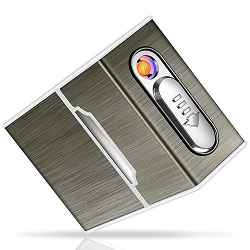 🥇 Yosemy Caja de Cigarrillo con Mechero Cigarette Case de Aluminio USB Recargable Caja Cigarrillo con Encendedor Pitilleras para Mujer y Hombre