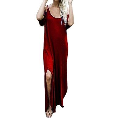 30702b3492ac50 Ulanda-EU Kleid Damen Sommer, Frauen Reine Farbe kleider Sexy Sommerkleider  Ärmelloses Leibchen Strand