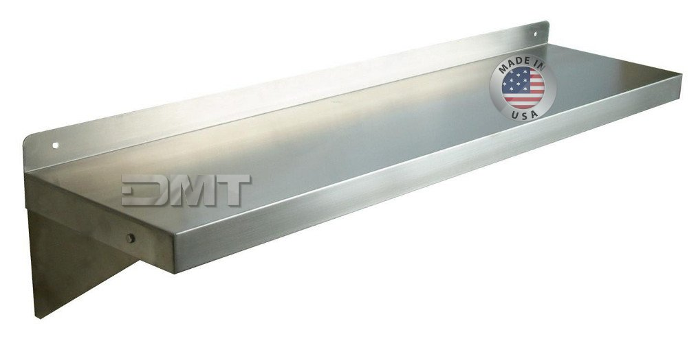 DMT Stainless Wall Shelf. 48'' X 10'' Deep. Made in USA. 16 Gauge 304/L Stainless Steel. Heavy Duty. by DMT Stainless LLC.