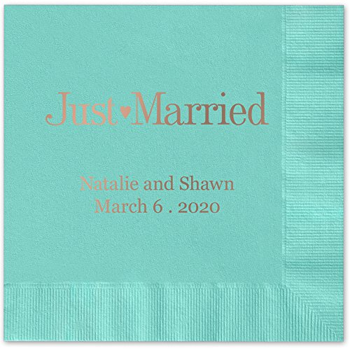 Just Married Personalized Luncheon Dinner Napkins - Canopy Street - 100 Custom Printed Aqua Paper Napkins with choice of foil stamp (5176L)