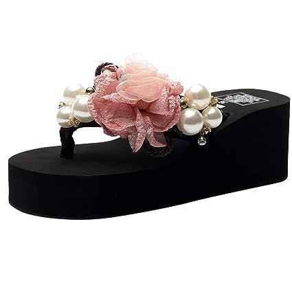 c76e16b1588e Women Girls Floral Wedges Bohemian Style Flip Flops Sandals Slippers Beach  Shoes (Black