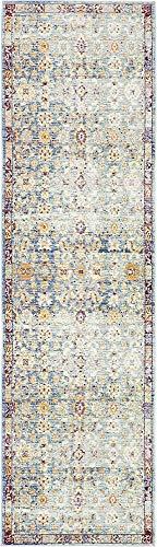 (Unique Loom Austin Collection Over-Dyed Vintage Botanical Border Blue Runner Rug (2' 7 x 9' 10))
