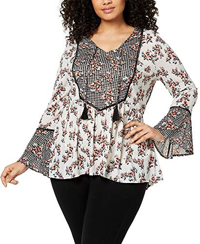 (Style & Co. Womens Plus Floral Print Bell Sleeves Blouse Black-Ivory 2X)