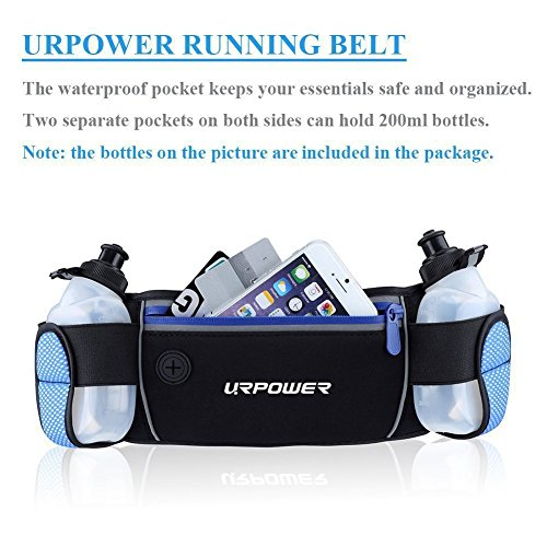 URPOWER Running Belt Multifunctional Zipper Pockets Water Resistant Waist Bag, with 2 Water Bottles Waist Pack for Running Hiking Cycling Climbing and for 6.1 inches Smartphones 51NY6ZohReL