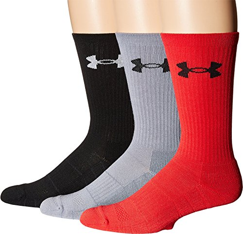 Under Armour Men's Elevated Performance Crew Socks (3 Pack), Rocket Red Assortment, Medium