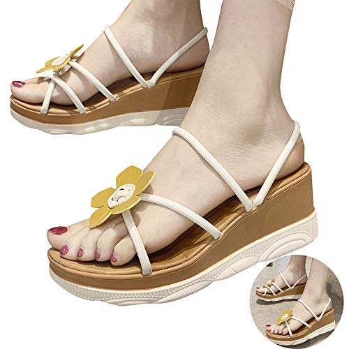 Swiusd Shoes Woman Girls Sunflower Wedged Sandals Cute Strap 2 in 1 Slippers Sandals High Water Platform Outdoor Beach Sandals (White, 5.5 M US)