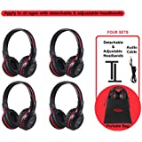 4 Pack of Vehicle Headphones, Support Car DVD Player, Car Headphones for Rear Entertainment System,Durable and Flexible for Kids, Wireless Infared Headphones with 3.5mm AUX Cable