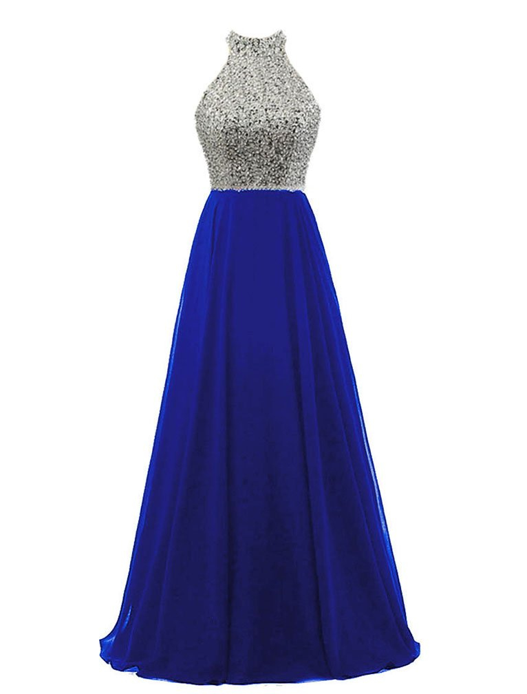 HEIMO Women's Sequins Keyhole Back Evening Party Gowns Beading Formal Prom Dresses Long H218 2 Royal Blue