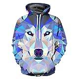 Mildred Jones Wolf Hoodies Men/Women Thin 3D Sweatshirts with Hat Print Colorful Blocks Wolf Hooded Hoodies YXQL239 XL