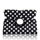 Generic Polka Dot Desigh PU leather 360 Degree Rotating Auto Sleep/Wake Function Stand Smart Defender Case Cover for 7 inch 2012 kindle fire HD--Black