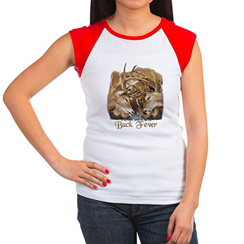 Royal Lion Women's Cap Sleeve T-Shirt Buck Fever Deer Hunting - Red/White, 2X (20-22) Turkey Womens Cap Sleeve T-shirt