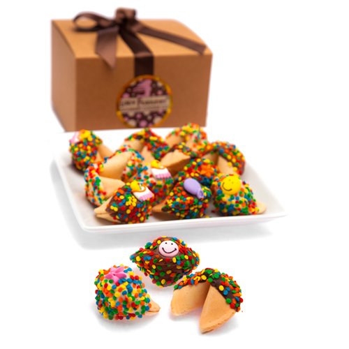 Happy Birthday Fortune Cookies- Gift Box of 12 (Assorted) Chocolate Dipped Fortune Cookies