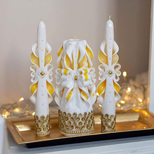 White unity candle set for wedding - Gold yellow memory candle for wedding