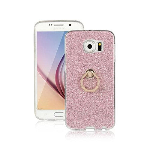 Luxus Bling Sparkle Style Case, Soft TPU [Silikon] Flexible Glitter Rückseitige Abdeckung mit Fingerring Stand für Samsung Galaxy S6 ( Color : White ) Pink