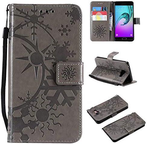 Galaxy A3 2017 ケース CUSKING 手帳型 ケース ストラップ付き かわいい 財布 カバー カードポケット付き Samsung ギャラクシー A3 2017 マジックアレイ ケース - グレー