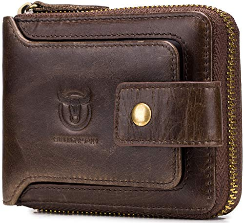 Men's Genuine Leather Wallet,RFID Blocking Zip Around Bifold Multi Purse Cowhide Leather Vintage Secure Card Holder with ID Window (Brown)