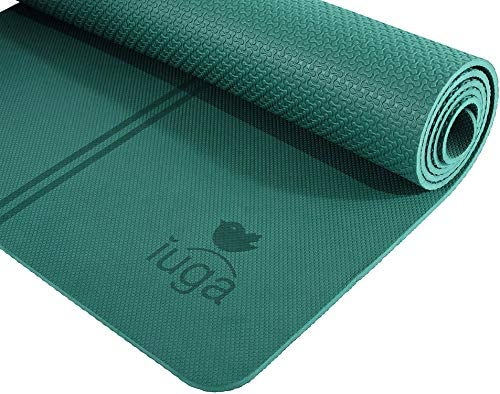 IUGA Eco Friendly Yoga Mat with Alignment Lines, Free Carry Strap, Non Slip TPE Yoga Mat for All Types of Yoga, Extra Large Exercise and Fitness Mat Size 72 X26 X1 4