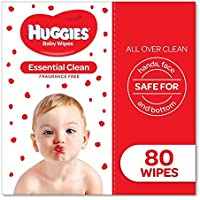 Huggies Essential Clean Baby Wipes, 80 Pack