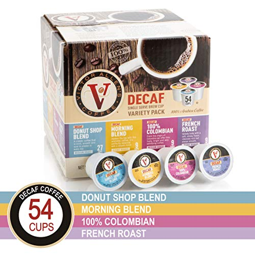 Decaf Donut Shop, Morning Blend, 100% Colombian, and French Roast Variety Pack for K-Cup Keurig 2.0 Brewers, 54 Count, Victor Allen's Coffee Medium Roast Single Serve Coffee Pods (Decaf K Cups Donut Shop)