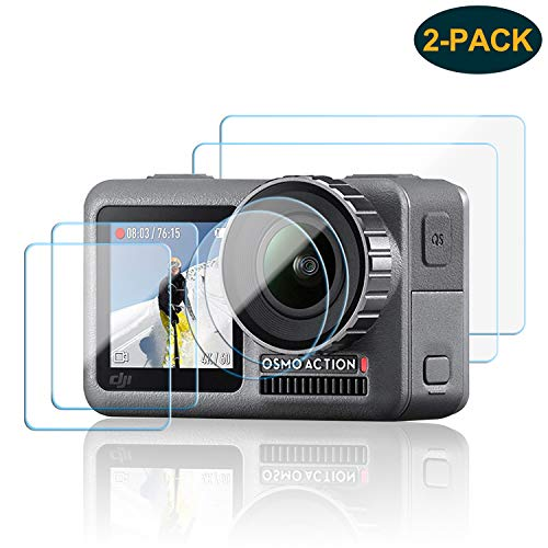 [2 Pack] Tempered Glass Screen Protector Film for DJI OSMO Action Camera, 2PCS Front and Back Screen Protector + 2PCS Lens Film Foil for DJI OSMO Action Camera Accessory, Anti-Scratch, Bubble Free