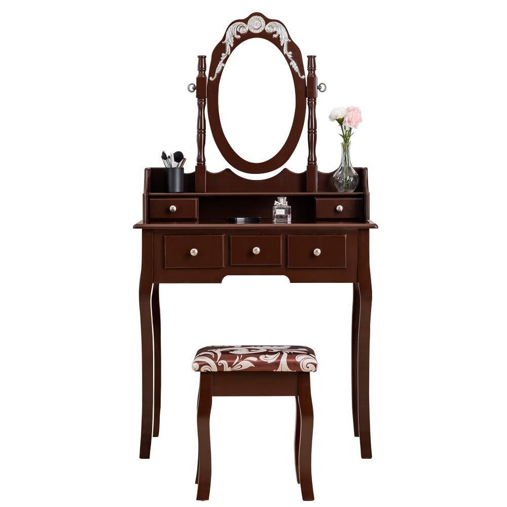 PaPaJet VanitySetwithMirror Wood MakeupVanityTableSet Dressing Table Cushioned Vanity Stool 5 Drawers