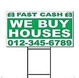 we buy houses - Fast Cash We Buy Houses Phone Custom Corrugated Plastic Yard Sign /Free Stakes One Side Print 18 x 24