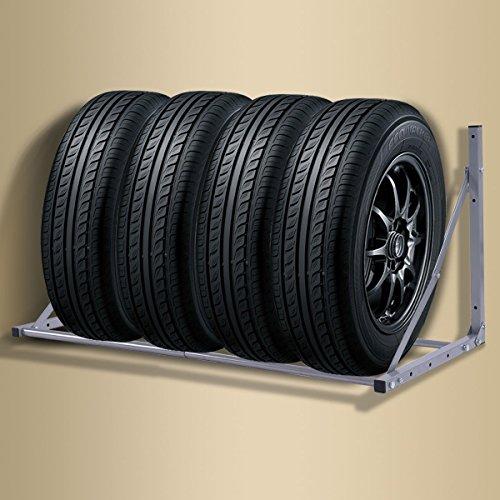 Apontus Folding Tire Wheel Rack Storage Holder Heavy Duty Garage Wall Mount Steel 300Lb by Apontus