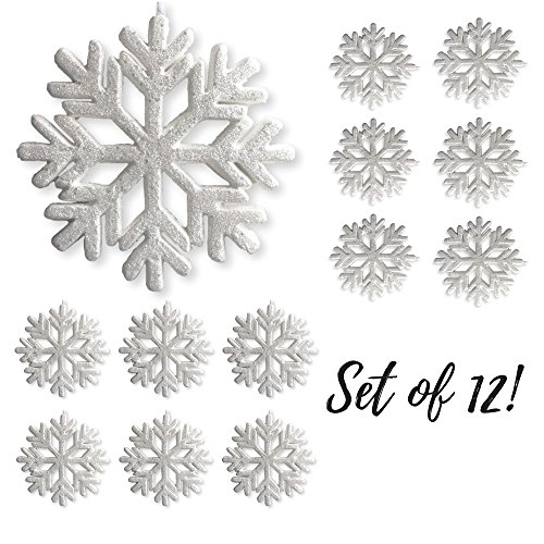 Large White Glittered Snowflakes - Set of 12 Foam Snowflake Ornaments with White Ribbon - Approximately 9