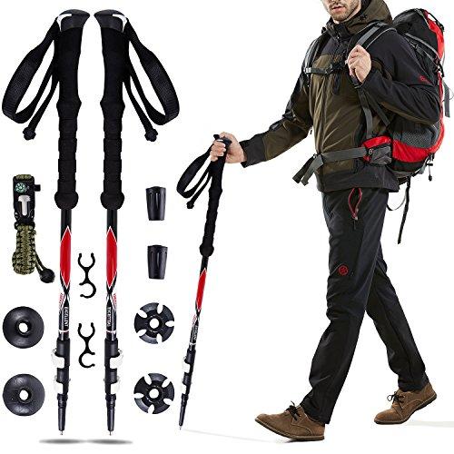Flip Compass (A Pair Trekking Poles Ultralight Quick Lock Adjustable Height Hiking Walking Sticks - with Tungsten Tips,Flip Locks,EVA Grip and Survival Bracelet (Black))