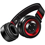 Wireless Headphones, Sound Intone P6 Stereo Bluetooth Headphones with Microphone Over-ear Foldable Portable Music Headsets for Cellphones Laptop Tablet TV Headphones (Black Red)
