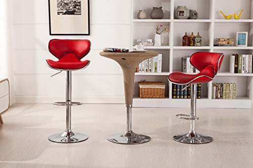 Roundhill Furniture Masaccio Cushioned Red Leatherette Upholstery Airlift Swivel Barstool (Set of 2) (Chrome Wide Bar Stool)