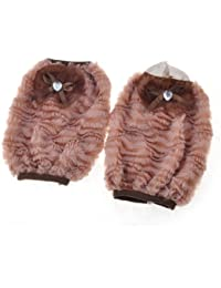 Take Bow Tie Decor Plush Elastic Cuff Arm Covers for Woman Pair Rosy Brown save
