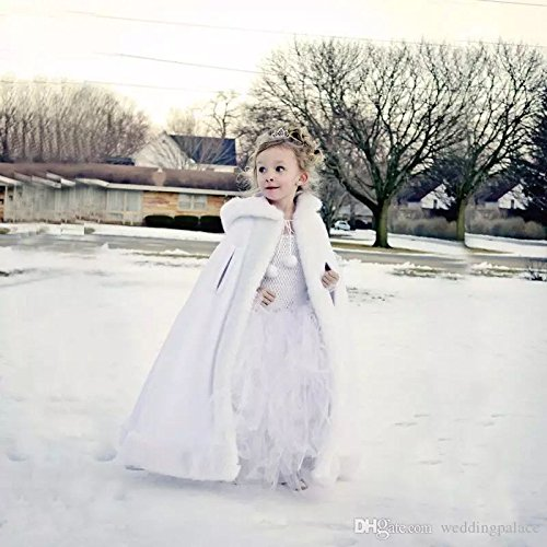 Vicokity Lovely Girls Cape Kids Wedding Cloaks Faux Fur Jacket Winter Satin Hooded Child Coats (White) by Vicokity (Image #1)