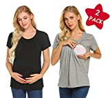 MAXMODA Women's 2 Packs Maternity Nursing Double Layer Short Sleeve Tops Black Breastfeeding Shirt Black+Light Grey XXL