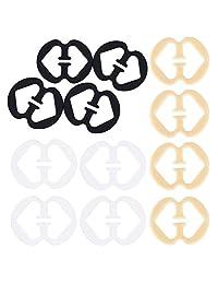 OKDEALS 12 Pack Bra Strap Clips Conceal Back Anti-Slip Buckles Cleavage Control, Clear, Black, Beige