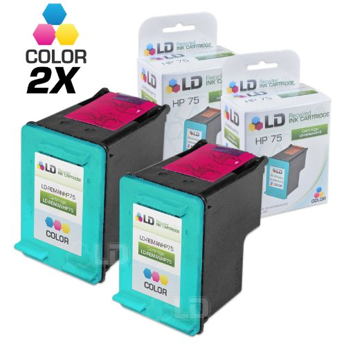 LD Remanufactured Ink Cartridge Replacement for HP 75 CB337WN (Color, 2-Pack)